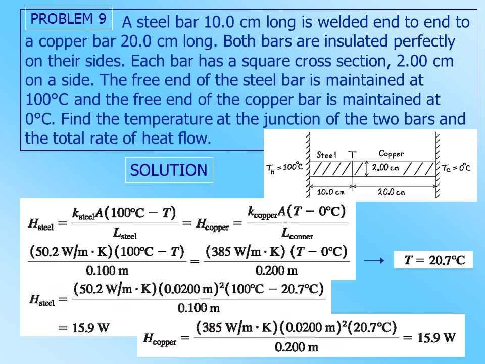 A steel bar 10.0 cm long is welded end to end to a copper bar 20.0 cm long. Both bars are insulated perfectly on their sides. Each bar has a square cr