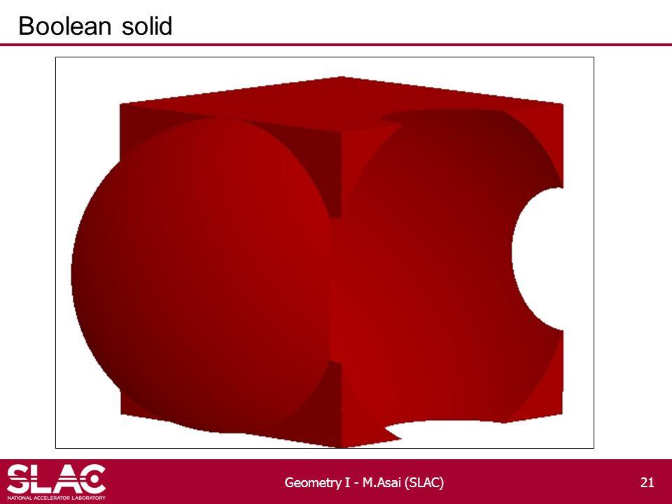 Boolean solid Geometry I - M.Asai (SLAC)21