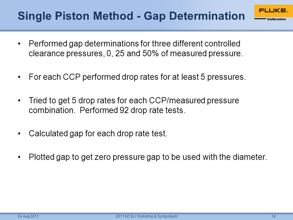 Single Piston Method - Gap Determination Performed gap determinations for three different controlled clearance pressures, 0, 25 and 50% of measured pressure.