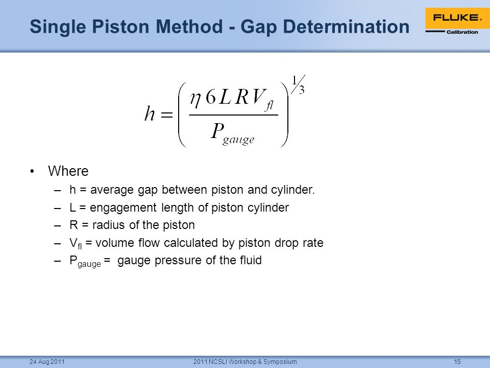 Single Piston Method - Gap Determination Where –h = average gap between piston and cylinder.