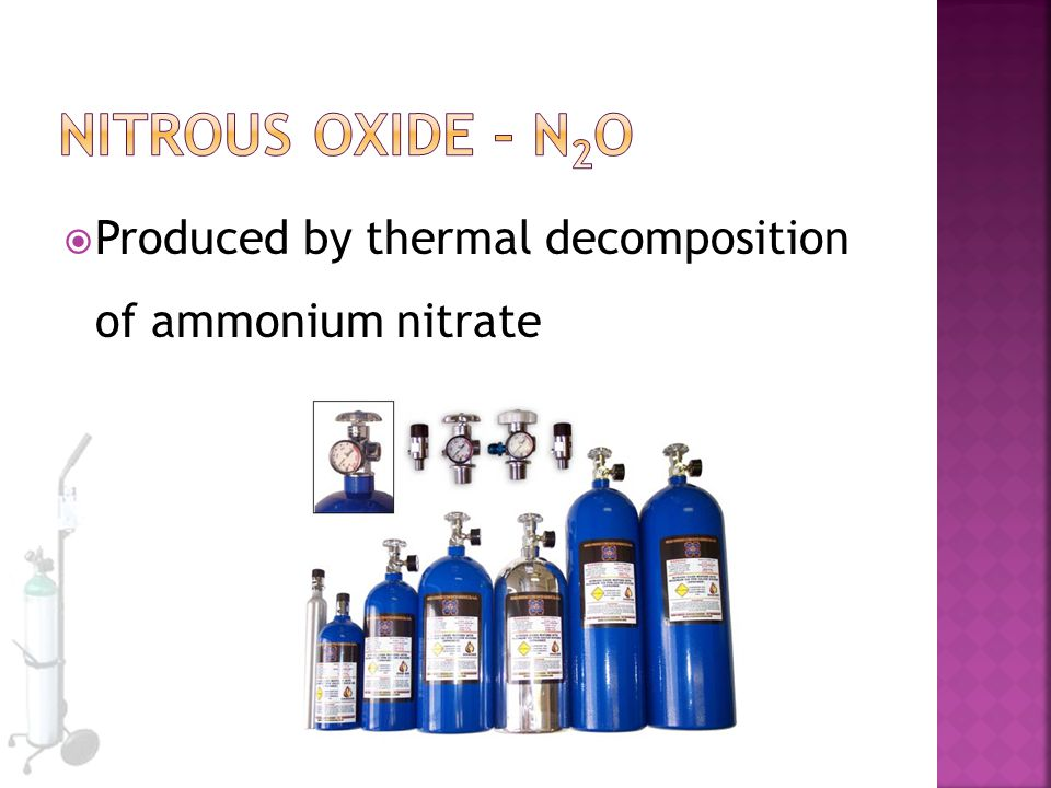  Produced by thermal decomposition of ammonium nitrate
