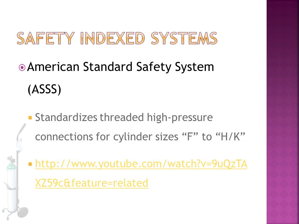 " American Standard Safety System (ASSS)  Standardizes threaded high-pressure connections for cylinder sizes ""F"" to ""H/K""  http://www.youtube.com/wa"