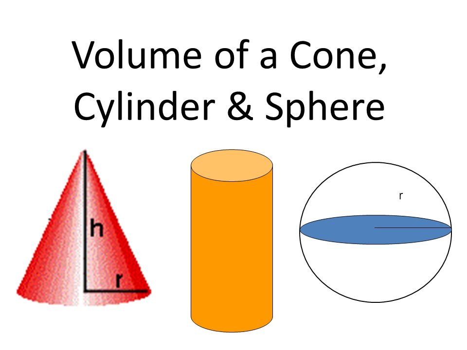 Volume of a Cone, Cylinder & Sphere r