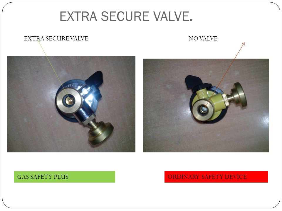 EXTRA SECURE VALVE. GAS SAFETY PLUSORDINARY SAFETY DEVICE EXTRA SECURE VALVENO VALVE