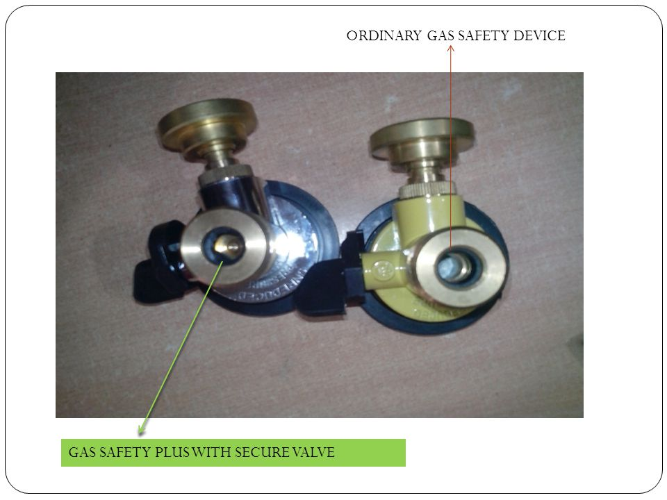 GAS SAFETY PLUS WITH SECURE VALVE ORDINARY GAS SAFETY DEVICE