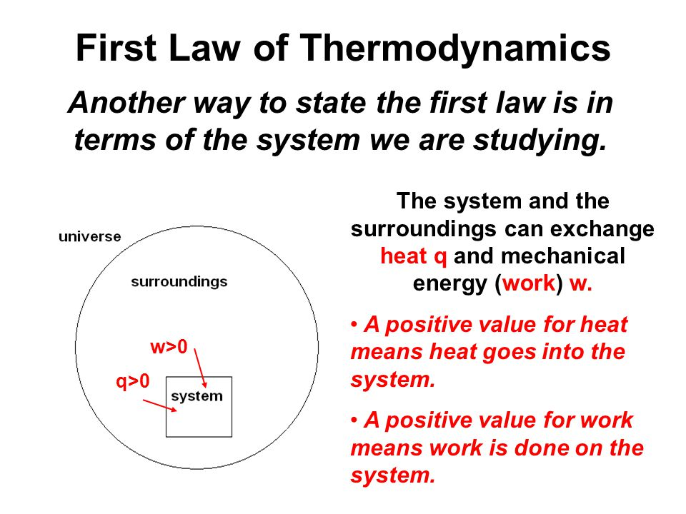 First Law of Thermodynamics Another way to state the first law is in terms of the system we are studying.