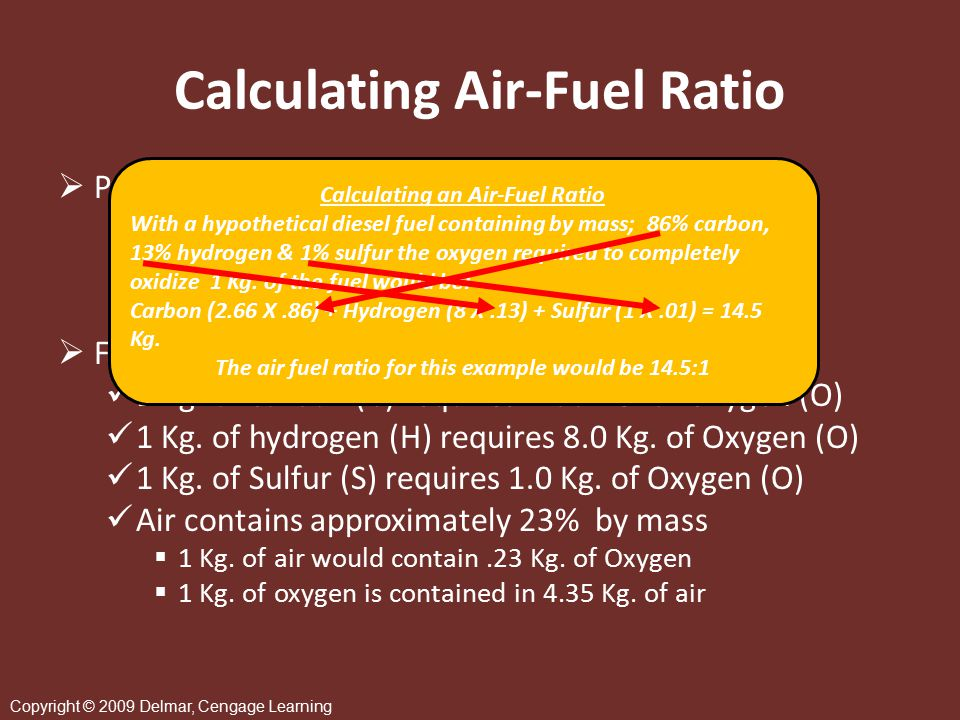 Copyright © 2009 Delmar, Cengage Learning Stoichiometry  Actual ratio of the reactants in any reaction to the exact ratios required to complete the reaction  Stoichiometric ratio or lambda ( ) factor is dependent on actual chemical composition of the fuel to be burned > = greater than, < = less than = Actual air supplied Stoichiometric requirement > 1 lean burn < 1 rich burn = 1 stoichiometric AFR