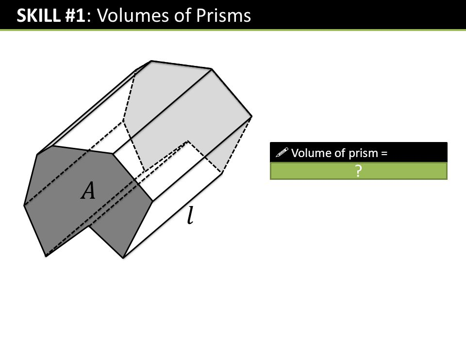 SKILL #1: Volumes of Prisms