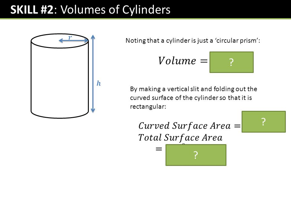 SKILL #2: Volumes of Cylinders