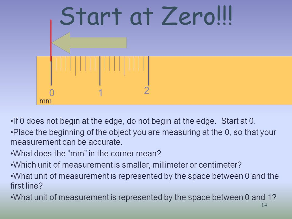 Start at Zero!!! 14 01 2 If 0 does not begin at the edge, do not begin at the edge. Start at 0. Place the beginning of the object you are measuring at
