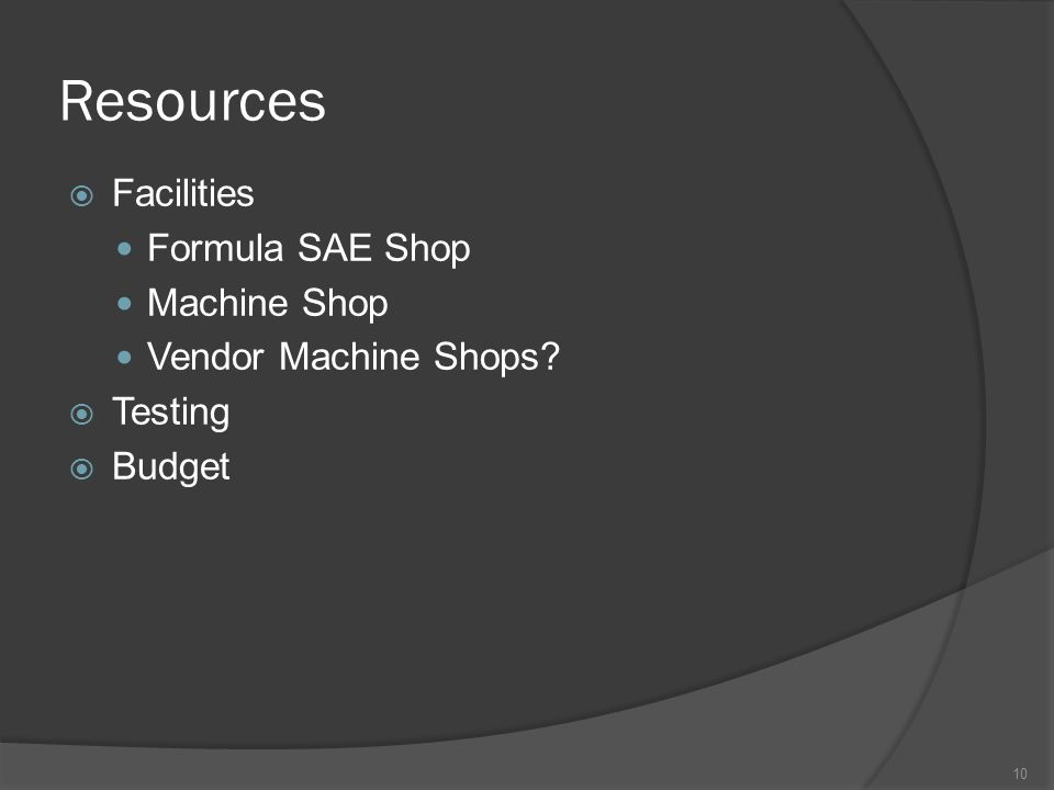 Resources  Facilities Formula SAE Shop Machine Shop Vendor Machine Shops  Testing  Budget 10
