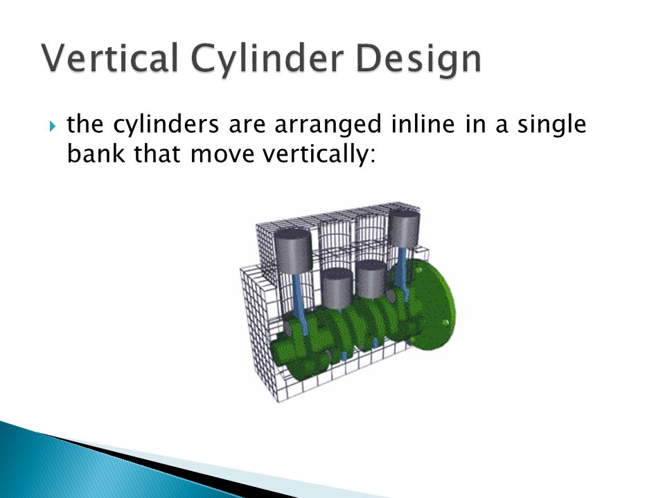  the cylinders are arranged inline in a single bank that move vertically: