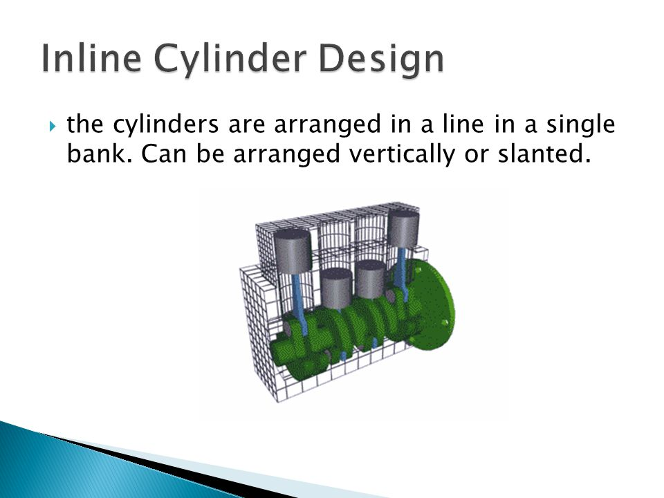  the cylinders are arranged in a line in a single bank. Can be arranged vertically or slanted.