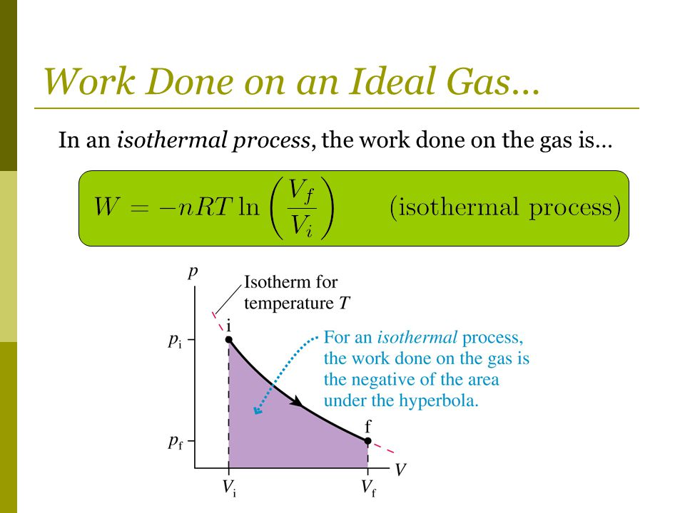Work Done on an Ideal Gas… In an isothermal process, the work done on the gas is…