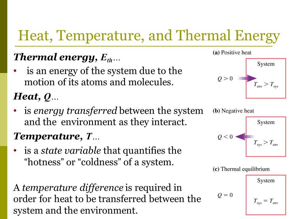 Heat, Temperature, and Thermal Energy Thermal energy, E th … is an energy of the system due to the motion of its atoms and molecules. Heat, Q… is ener