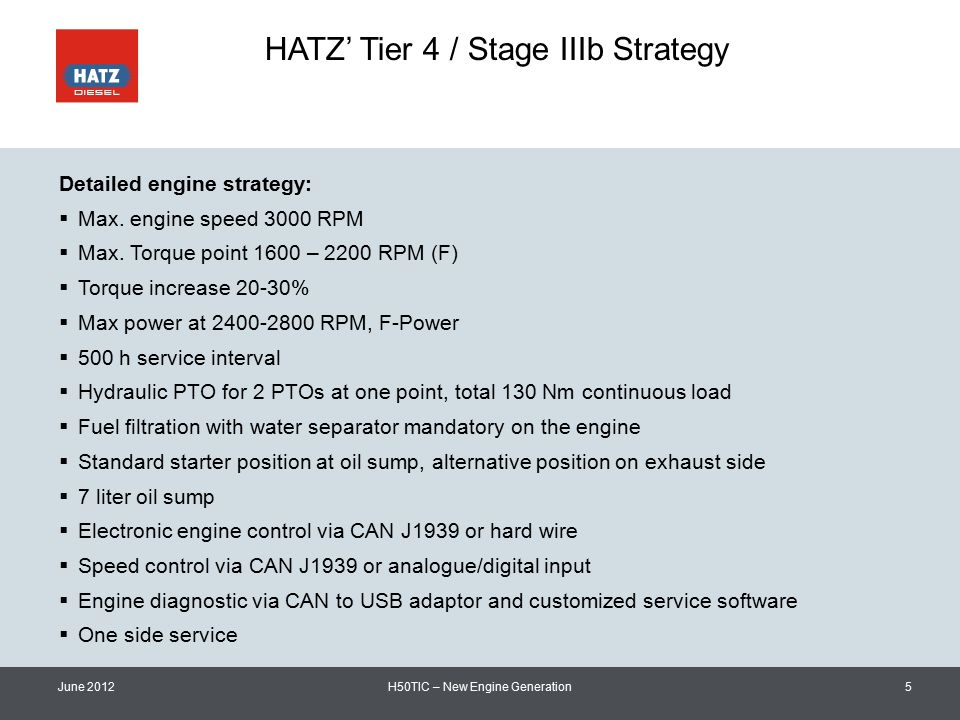 HATZ' Tier 4 / Stage IIIb Strategy June 2012H50TIC – New Engine Generation5 Detailed engine strategy:  Max.
