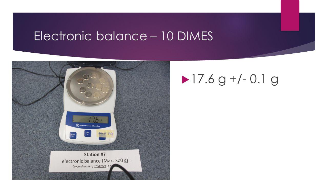 Electronic balance – 10 DIMES  17.6 g +/- 0.1 g