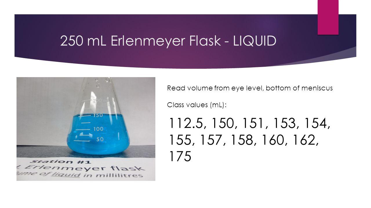 50 mL Erlenmeyer flask - LIQUID Read volume from eye level, bottom of meniscus Class values (mL): 15, 17, 25, 27, 28, 29, 30, 31