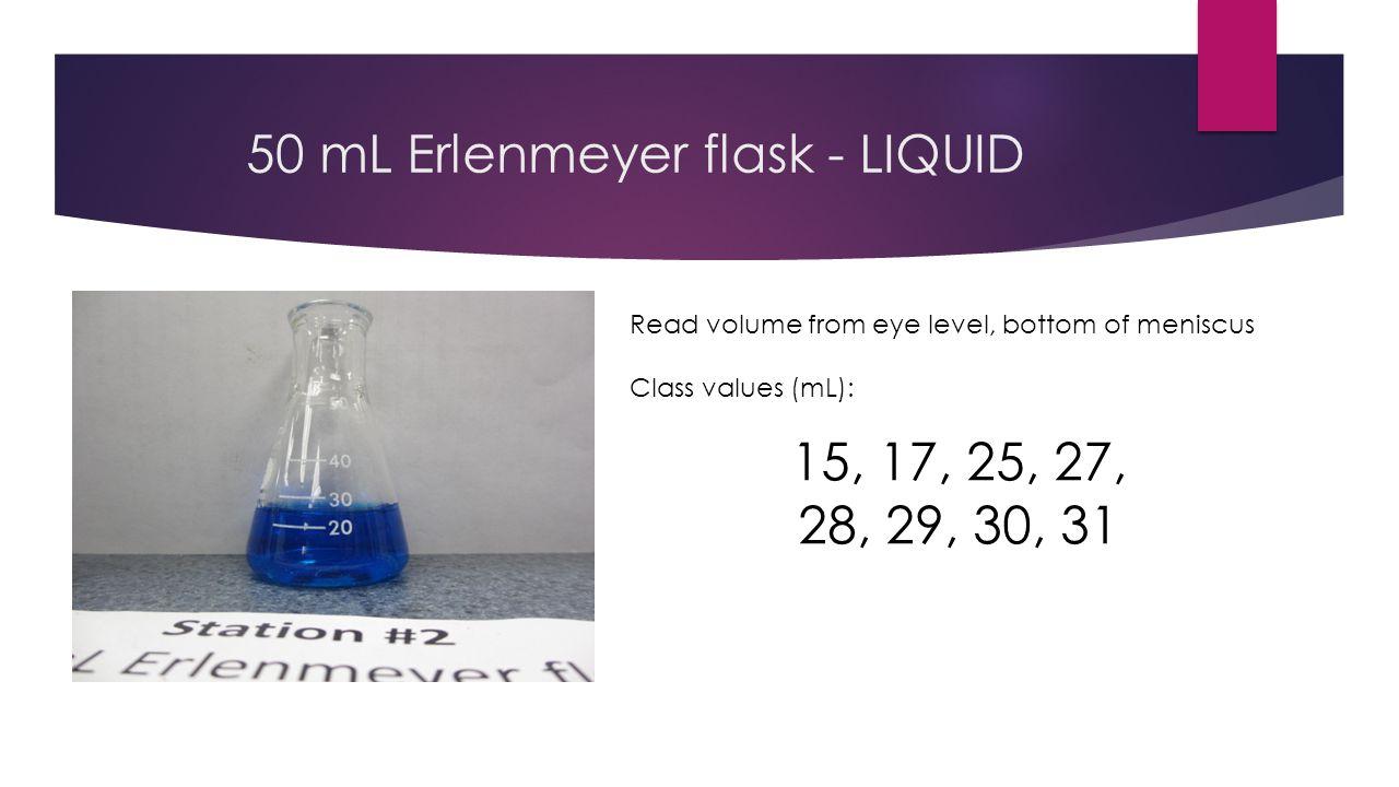 400 mL beaker - LIQUID Read volume from eye level, bottom of meniscus Class values (mL): 115, 120, 155, 170, 172, 175, 178, 182, 185