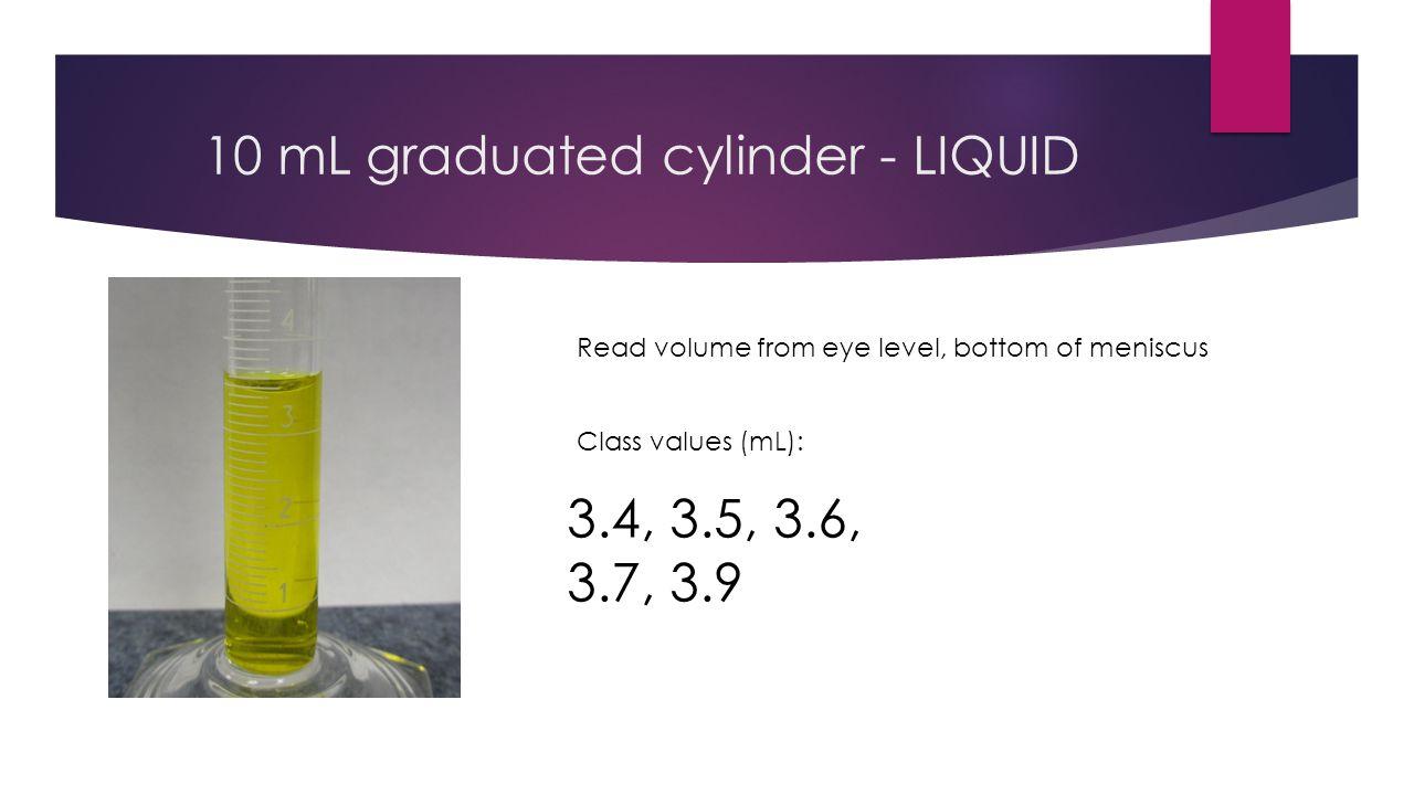 10 mL graduated cylinder - LIQUID  3.42 mL +/- 0.02 mL