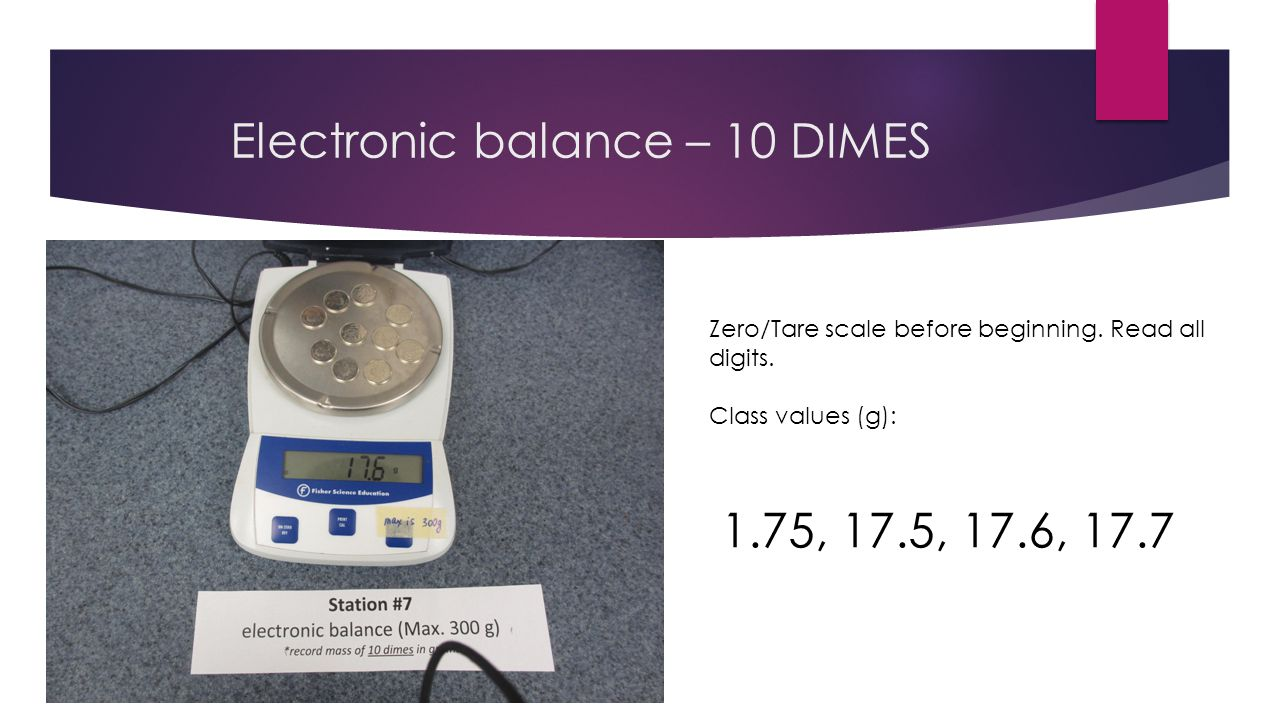 Triple -beam balance – 10 DIMES Quadruple Adjust largest mass (100 g increments) first until the right side drops.