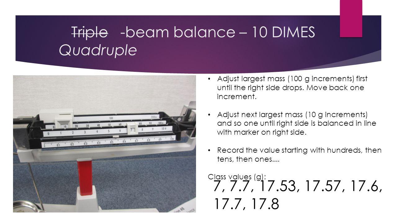 Triple -beam balance – 10 DIMES Quadruple  17.531 g +/- 0.002 g