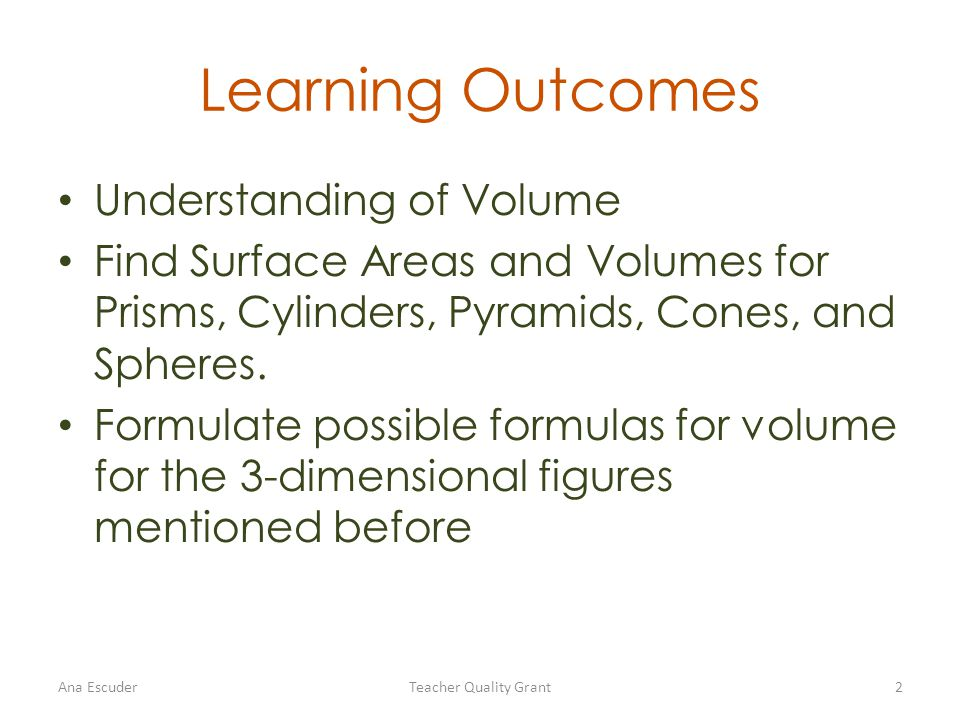 Learning Outcomes Understanding of Volume Find Surface Areas and Volumes for Prisms, Cylinders, Pyramids, Cones, and Spheres.