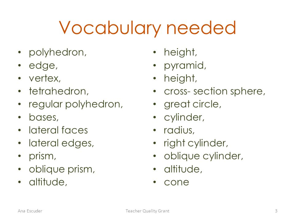 Vocabulary needed polyhedron, edge, vertex, tetrahedron, regular polyhedron, bases, lateral faces lateral edges, prism, oblique prism, altitude, height, pyramid, height, cross- section sphere, great circle, cylinder, radius, right cylinder, oblique cylinder, altitude, cone Ana EscuderTeacher Quality Grant3