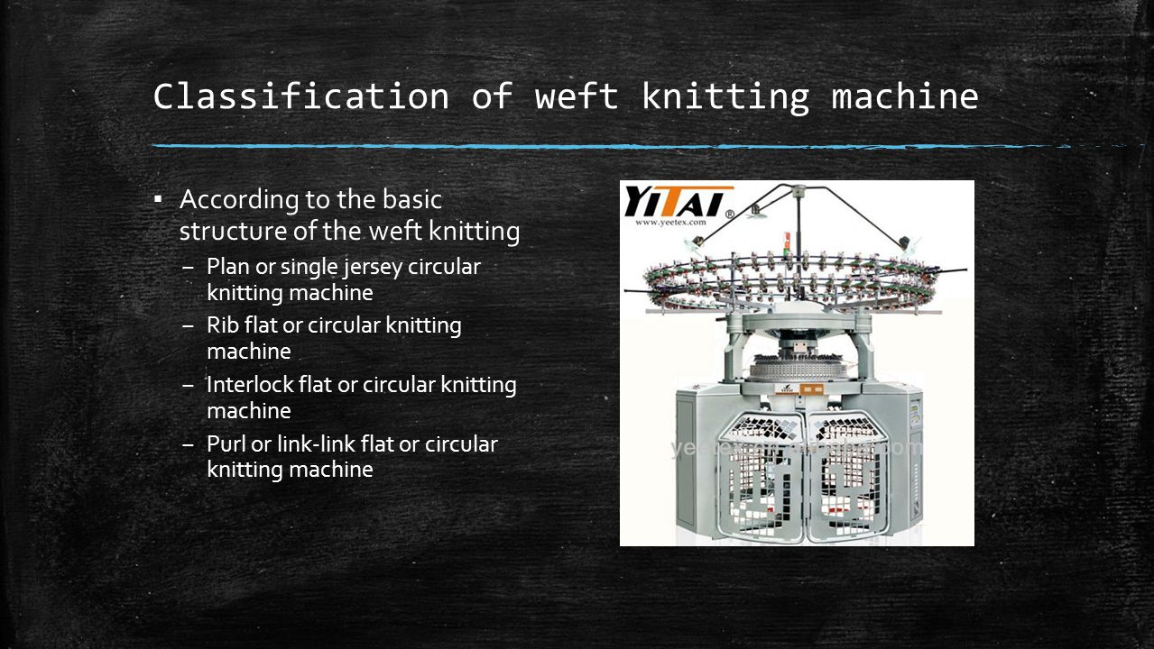 Classification of weft knitting machine ▪ According to the basic structure of the weft knitting – Plan or single jersey circular knitting machine – Ri