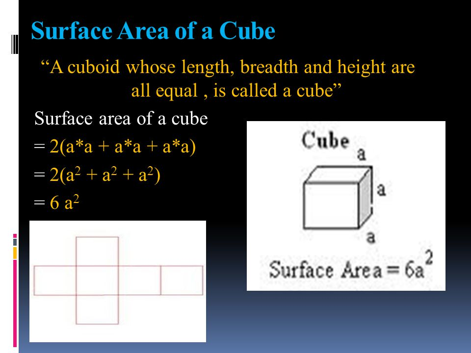 Thus, for a cylinder of radius r and height h , we have L.S.A = 2 Π r h square units Each base Area = Π r 2 Total Surface Area = (2 Π r h + 2Π r 2 ) = 2 Π r (h + r ) Square units