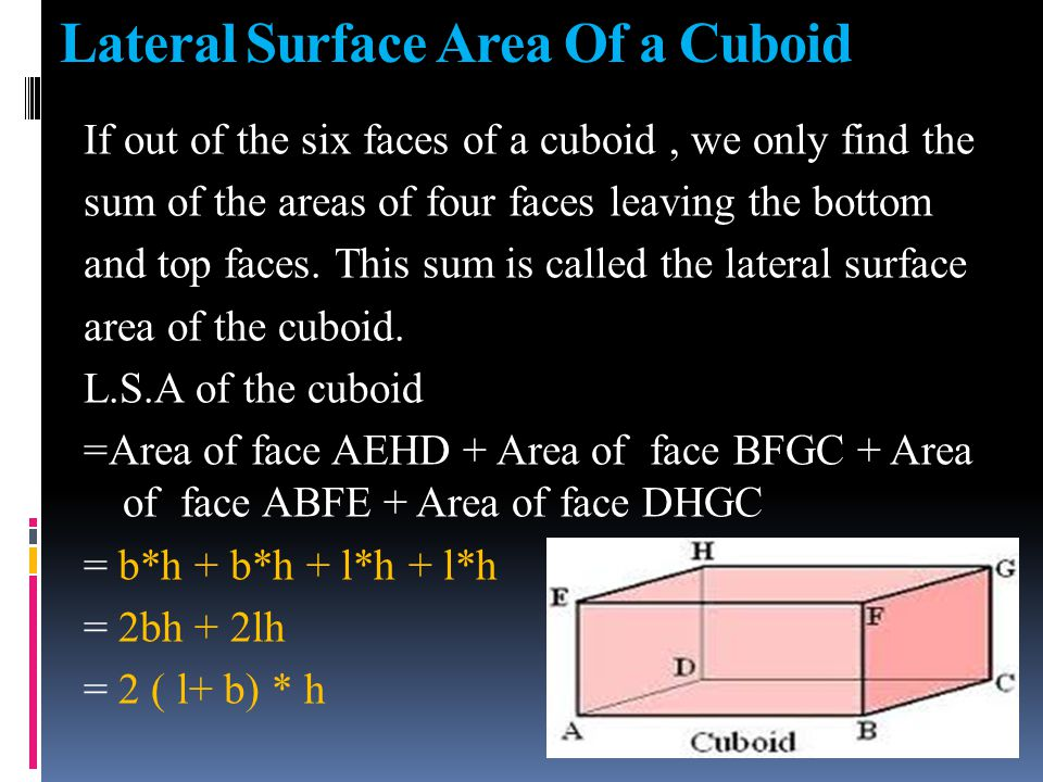 Lateral Surface Area of a Cube L.S. Area of a cube = 2(a*a + a*a) = 2(a 2 + a 2 ) = 4a 2