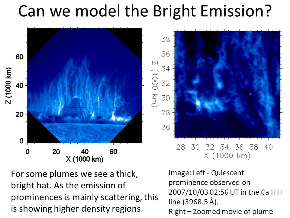 Can we model the Bright Emission. For some plumes we see a thick, bright hat.