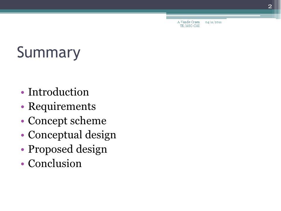 Summary Introduction Requirements Concept scheme Conceptual design Proposed design Conclusion 04/11/2011 2 A. Vande Craen TE/MSC-CMI