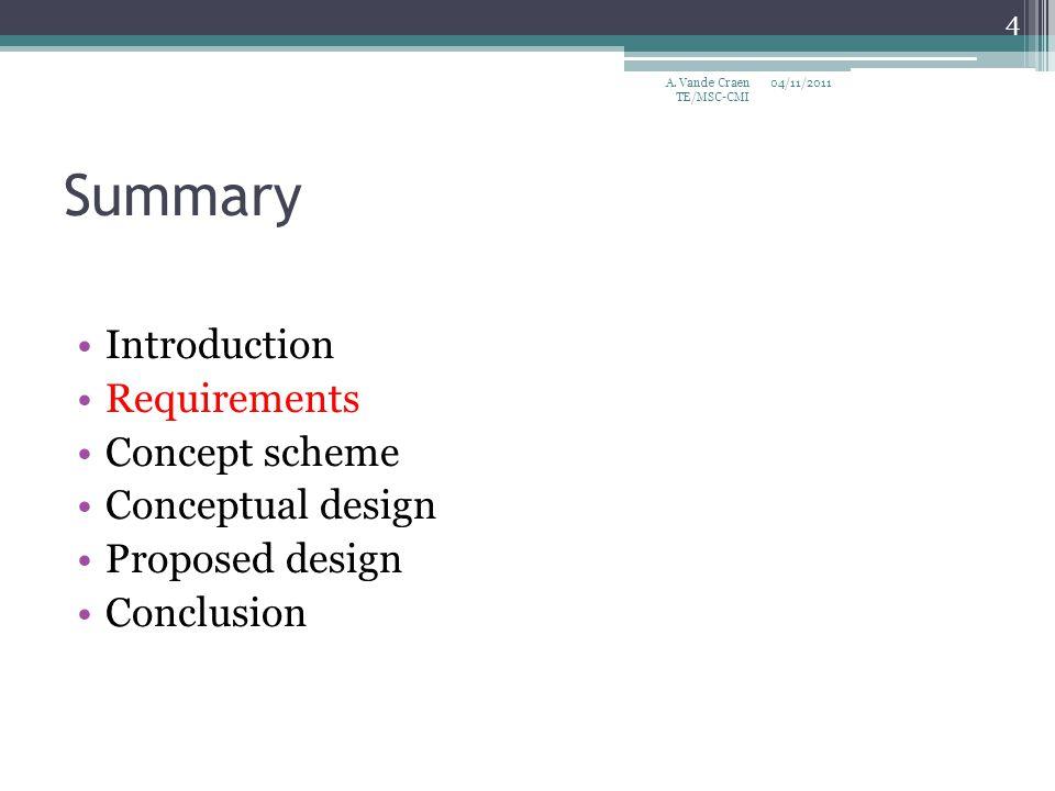 Summary Introduction Requirements Concept scheme Conceptual design Proposed design Conclusion 04/11/2011 4 A. Vande Craen TE/MSC-CMI