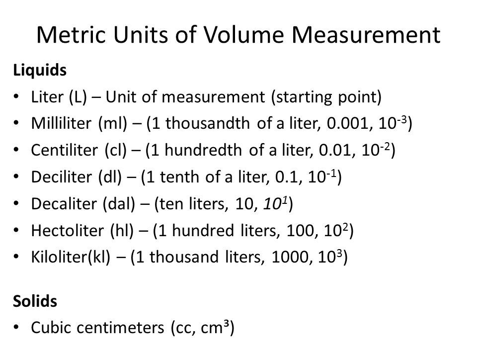 Volume of irregular shaped solid objects Irregular shaped objects can be measured by: – Putting the object in water and measuring the amount of water displaced.