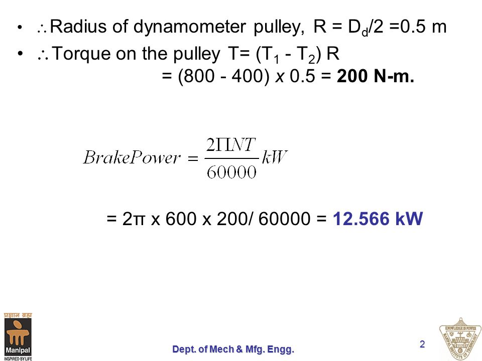 Dept. of Mech & Mfg. Engg. 2  Radius of dynamometer pulley, R = D d /2 =0.5 m  Torque on the pulley T= (T 1 - T 2 ) R = (800 - 400) x 0.5 = 200 N-m.