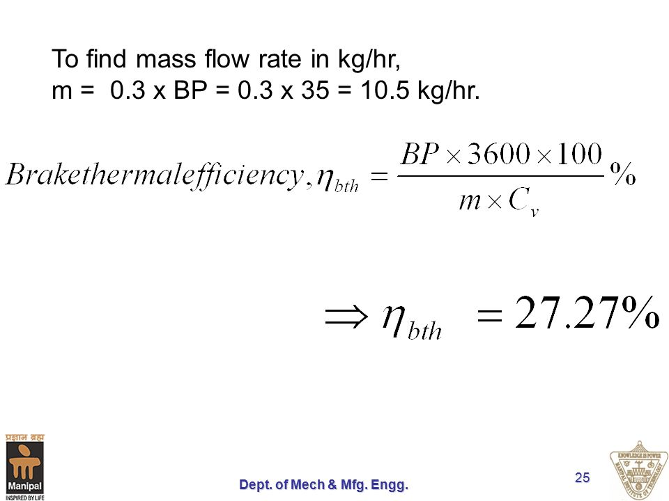 Dept. of Mech & Mfg. Engg. 25 To find mass flow rate in kg/hr, m = 0.3 x BP = 0.3 x 35 = 10.5 kg/hr.