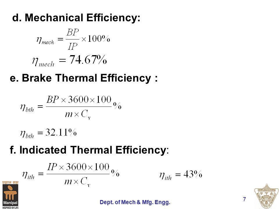 Dept. of Mech & Mfg. Engg. 7 d. Mechanical Efficiency: e. Brake Thermal Efficiency : f. Indicated Thermal Efficiency: