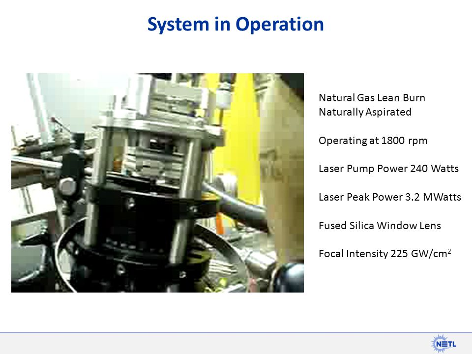 System in Operation Natural Gas Lean Burn Naturally Aspirated Operating at 1800 rpm Laser Pump Power 240 Watts Laser Peak Power 3.2 MWatts Fused Silica Window Lens Focal Intensity 225 GW/cm 2