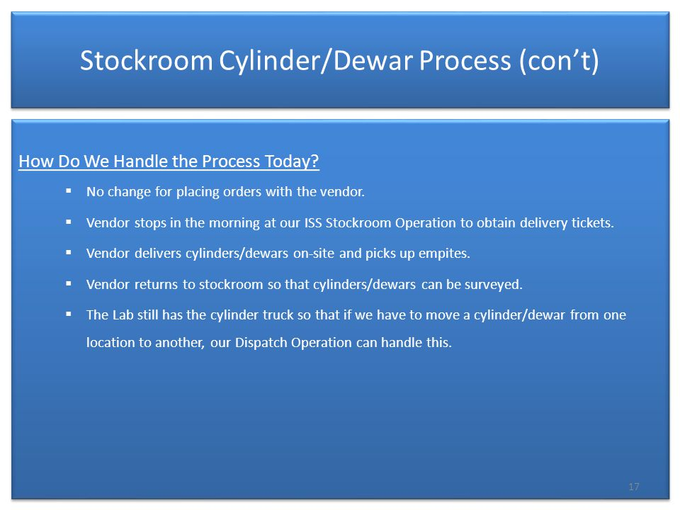 Stockroom Cylinder/Dewar Process (con't) How Do We Handle the Process Today.