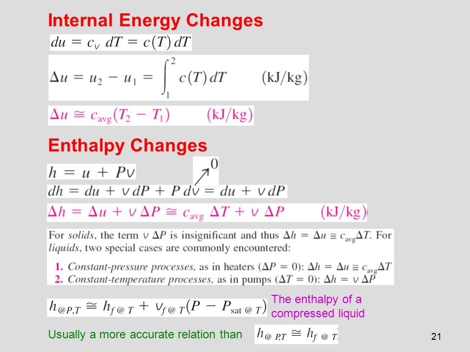 21 Internal Energy Changes Enthalpy Changes The enthalpy of a compressed liquid Usually a more accurate relation than