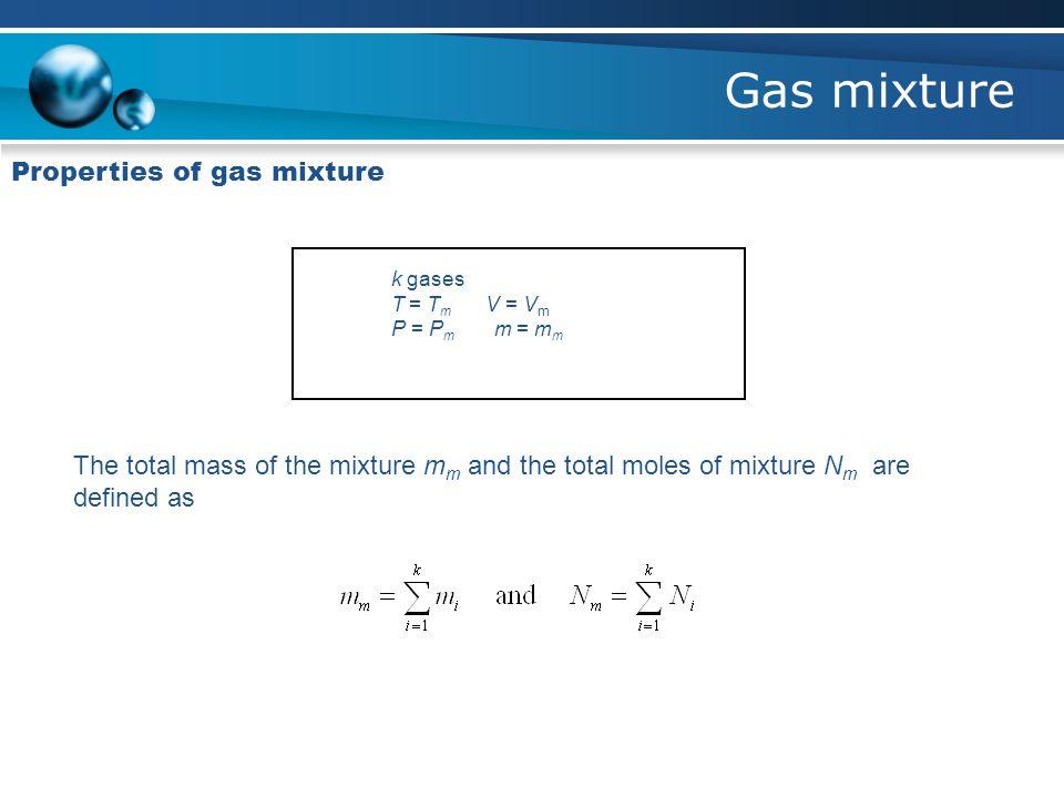 Gas mixture Properties of gas mixture k gases T = T m V = V m P = P m m = m m The total mass of the mixture m m and the total moles of mixture N m are