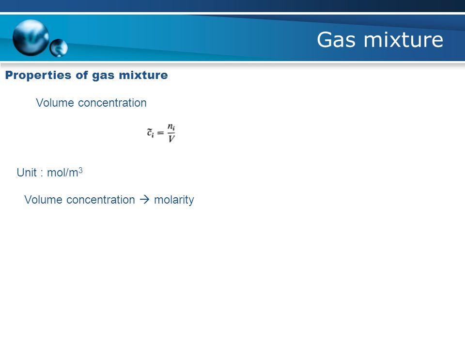 Gas mixture Properties of gas mixture Volume concentration Unit : mol/m 3 Volume concentration  molarity