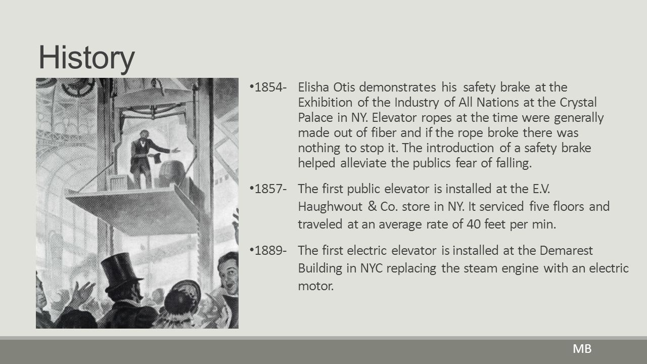 History MB 1854-Elisha Otis demonstrates his safety brake at the Exhibition of the Industry of All Nations at the Crystal Palace in NY. Elevator ropes