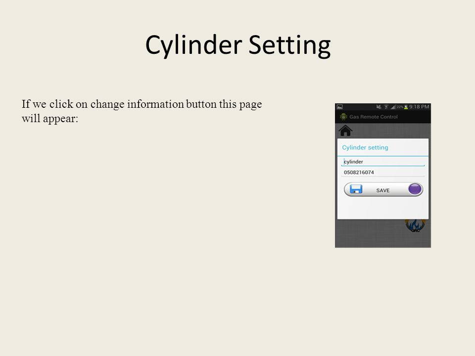 Cylinder Setting If we click on change information button this page will appear:
