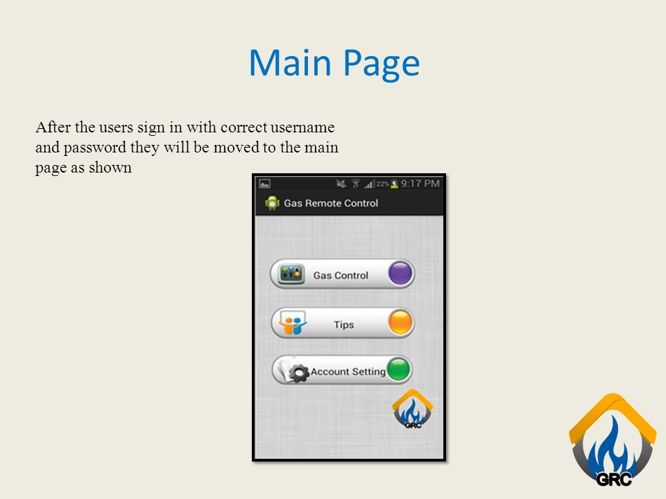 Main Page After the users sign in with correct username and password they will be moved to the main page as shown