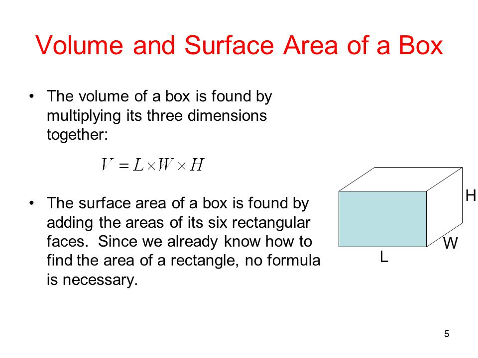 5 Volume and Surface Area of a Box The volume of a box is found by multiplying its three dimensions together: The surface area of a box is found by ad