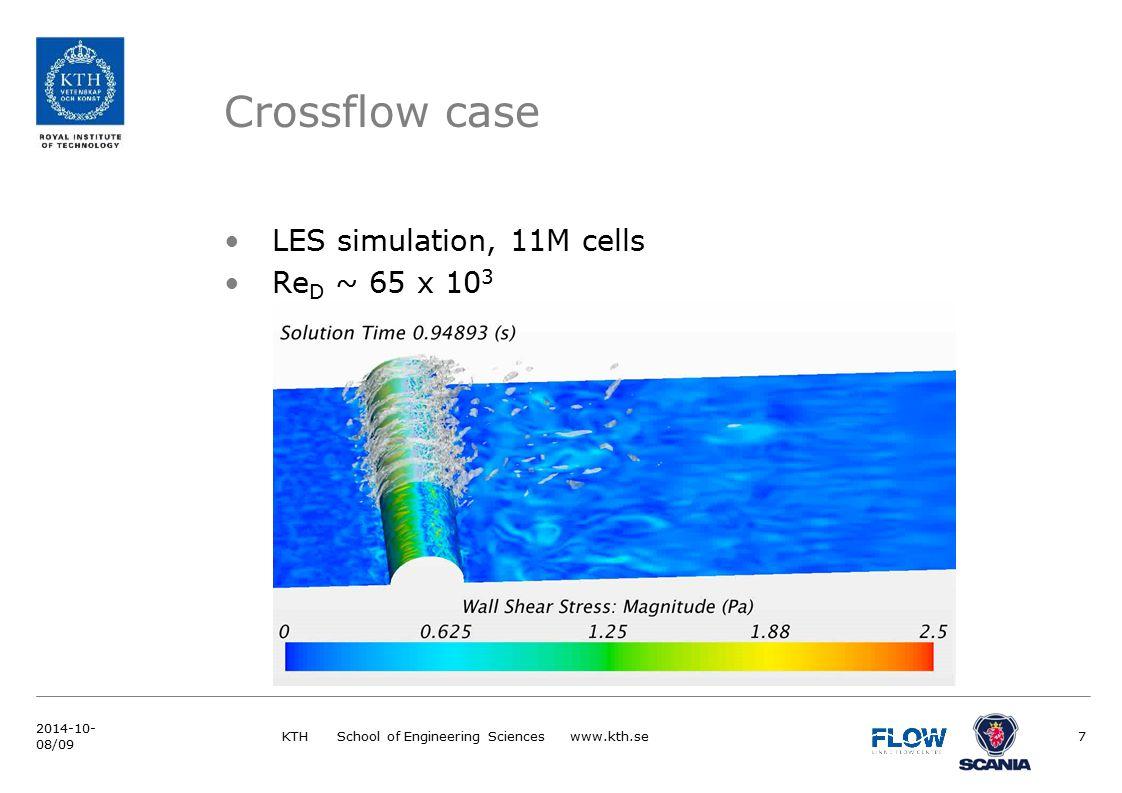 LES simulation, 11M cells Re D ~ 65 x 10 3 Crossflow case KTH School of Engineering Sciences www.kth.se7 2014-10- 08/09