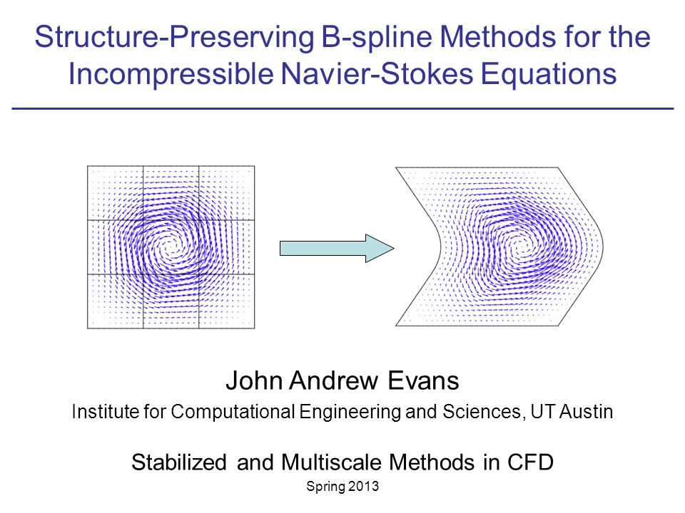 Structure-Preserving B-spline Methods for the Incompressible Navier-Stokes Equations John Andrew Evans Institute for Computational Engineering and Sciences, UT Austin Stabilized and Multiscale Methods in CFD Spring 2013