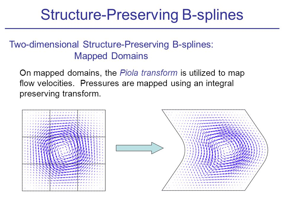 Two-dimensional Structure-Preserving B-splines: Mapped Domains On mapped domains, the Piola transform is utilized to map flow velocities.